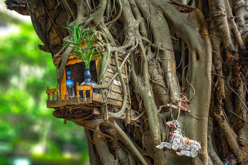 SPIRIT HOUSE AND TREE ROOTS INTERTWINED. royalty free stock photo