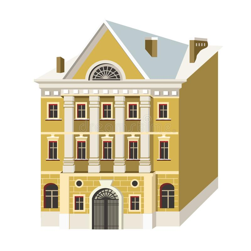 On the street of the building. Miniature houses in the style of classicism. Vector illustration with beautiful buildings of Saint-Petersburg city royalty free illustration