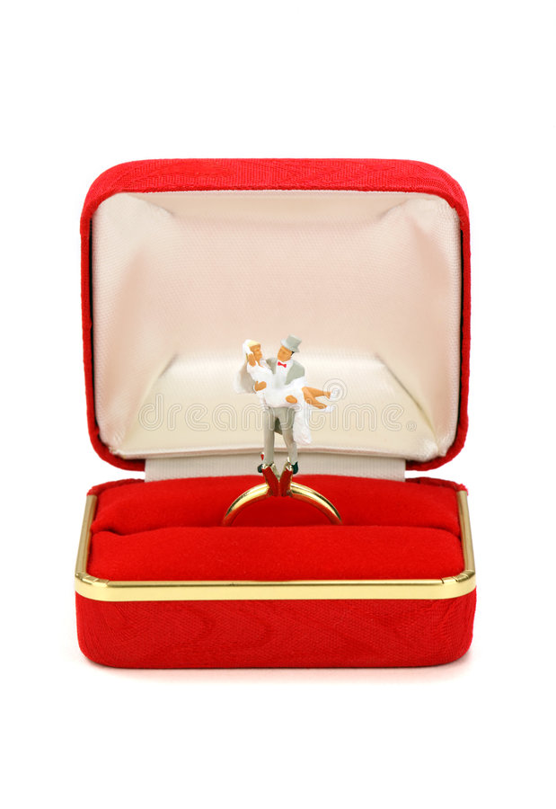 Miniature married couple in red ring box stock images