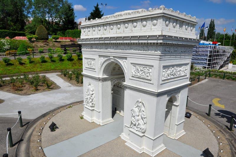 Miniature model of Arc de Triomphe stock images