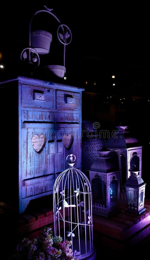 Miniature model of cage and cupboard as home decor furniture royalty free stock images