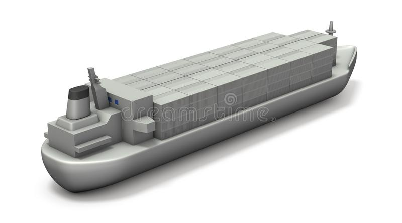 A miniature model of a cargo ship full of containers. White background. 3D illustration stock illustration