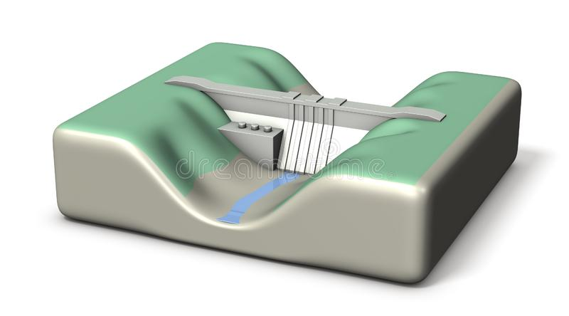 A miniature model of a dam. It stores little water. White background. 3D illustration. Rendered image royalty free illustration