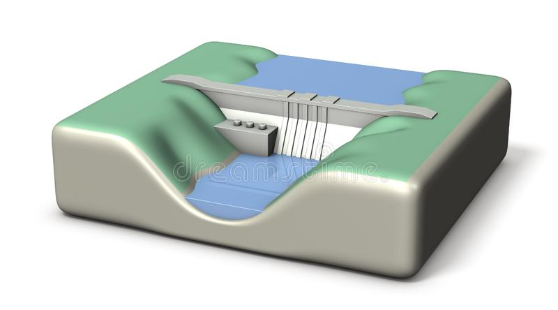 A miniature model of a dam. It stores a lot of water. White background. 3D illustration stock illustration