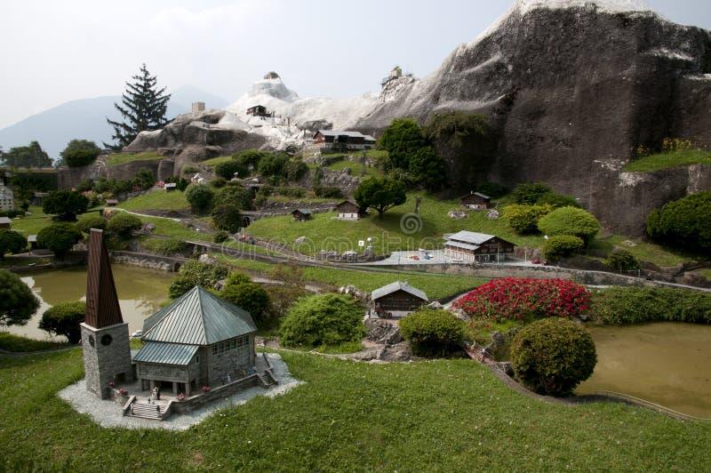 Miniature model in mini park. Miniature model of mountain village in mini park (Europe, Switzerland, Lugano stock image