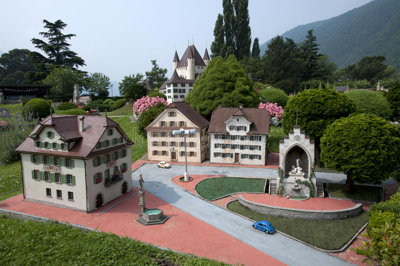 Miniature model in mini park. Miniature model of mountain village in mini park (Europe, Switzerland, Lugano royalty free stock photos