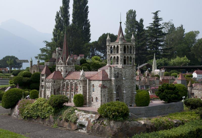Miniature model in mini park. Miniature model of church in mini park (Europe, Switzerland, Lugano royalty free stock images