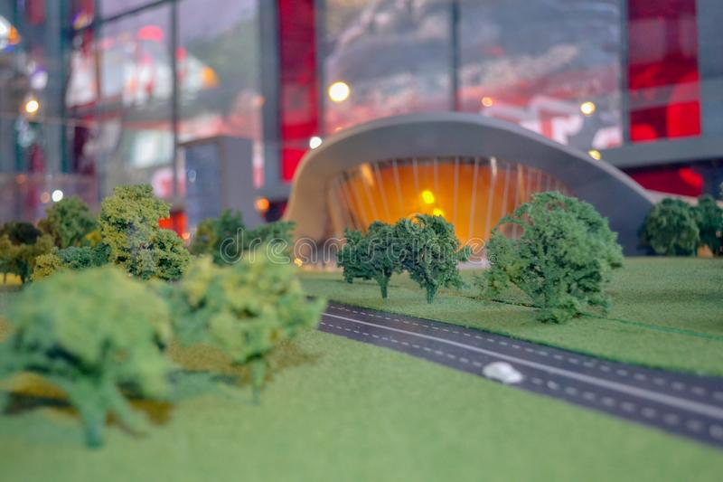 Miniature model of a modern city with a park and road. Miniature model layout of a modern city with a park and road stock photography