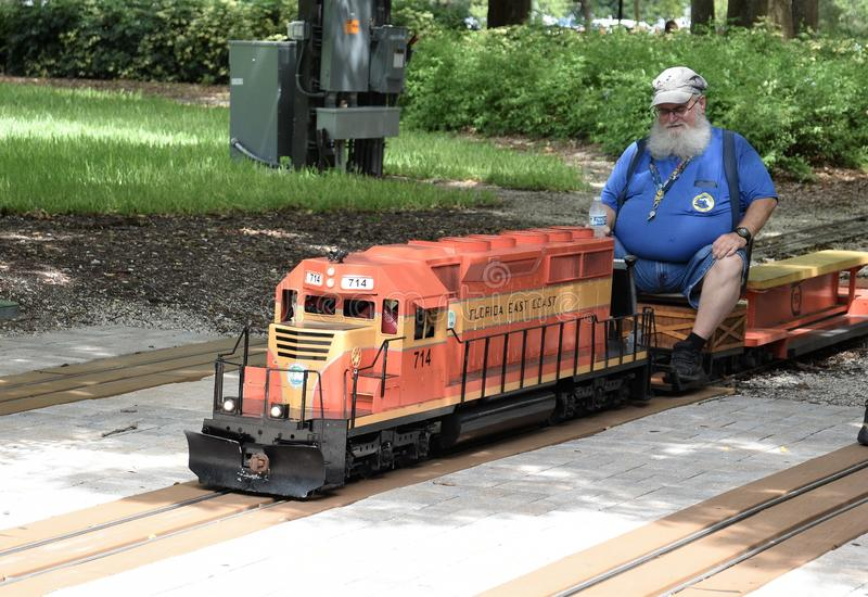 Miniature model trains you can ride on is becoming a popular attraction in Largo, Florida royalty free stock images