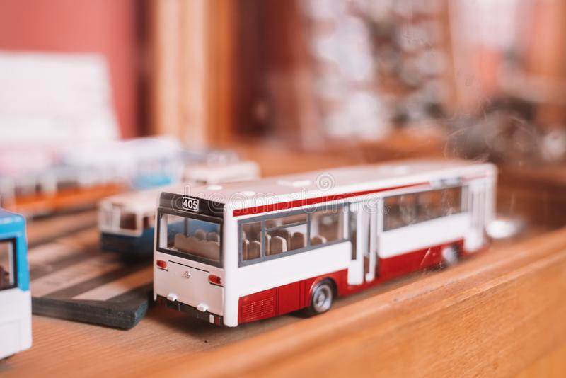 Miniature models of the bus in Museum stock photography