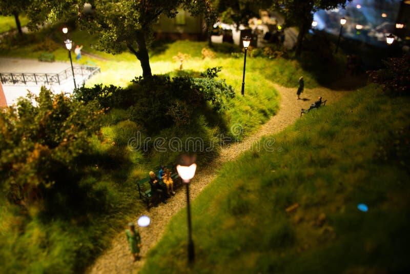 Miniature park. Representing a night scene royalty free stock photo