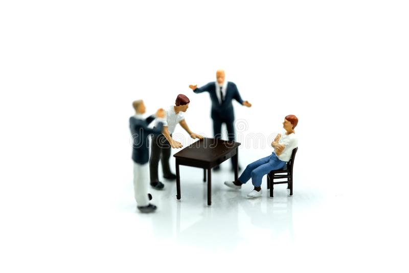 Miniature people : angry businesspeople quarreling,Conflict and stock photo
