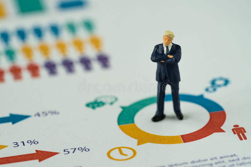 Miniature people business concept as small figure businessmen st. Anding on analysis graph chart royalty free stock image