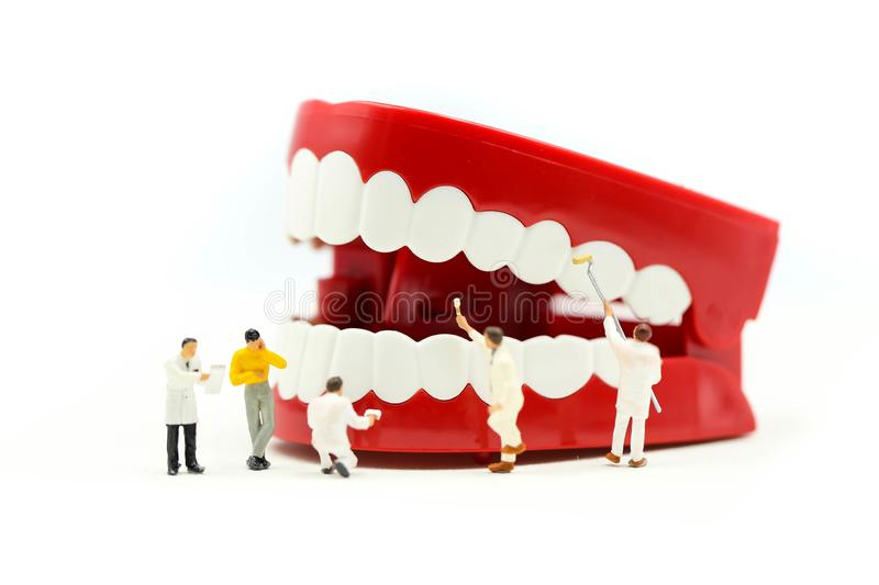 Miniature people : clean tooth or dental model with Dentist examining a patient`s teeth ,using for concept of Dentist`s Day royalty free stock photography