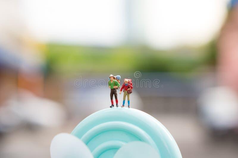 Miniature people, couple traveler stock photos