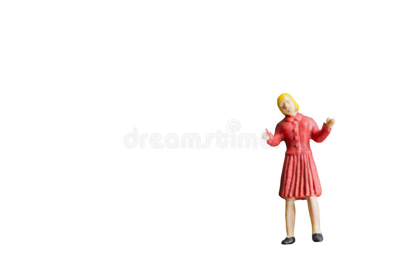 Miniature people isolated on white background royalty free stock photography
