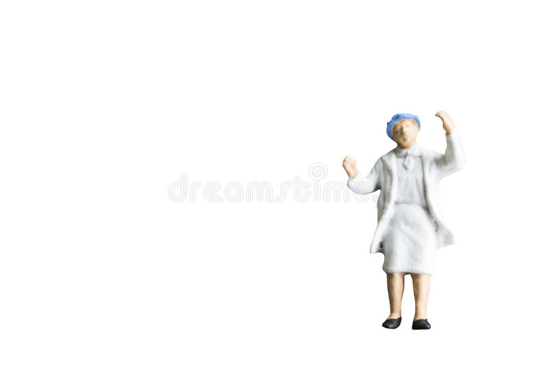 Miniature people isolated on white background stock images