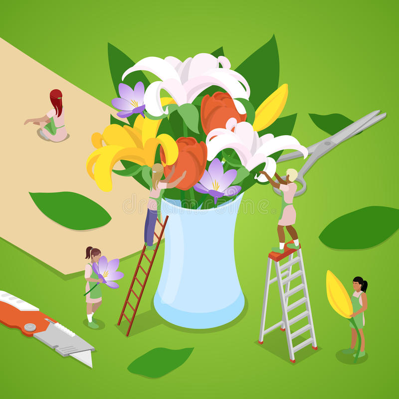 Miniature People Making Bouquet of Flowers. Florist Shop. Isometric illustration stock illustration