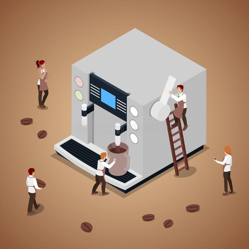 Miniature People Making Coffee with Espresso Machine. Vector flat 3d isometric illustration stock illustration