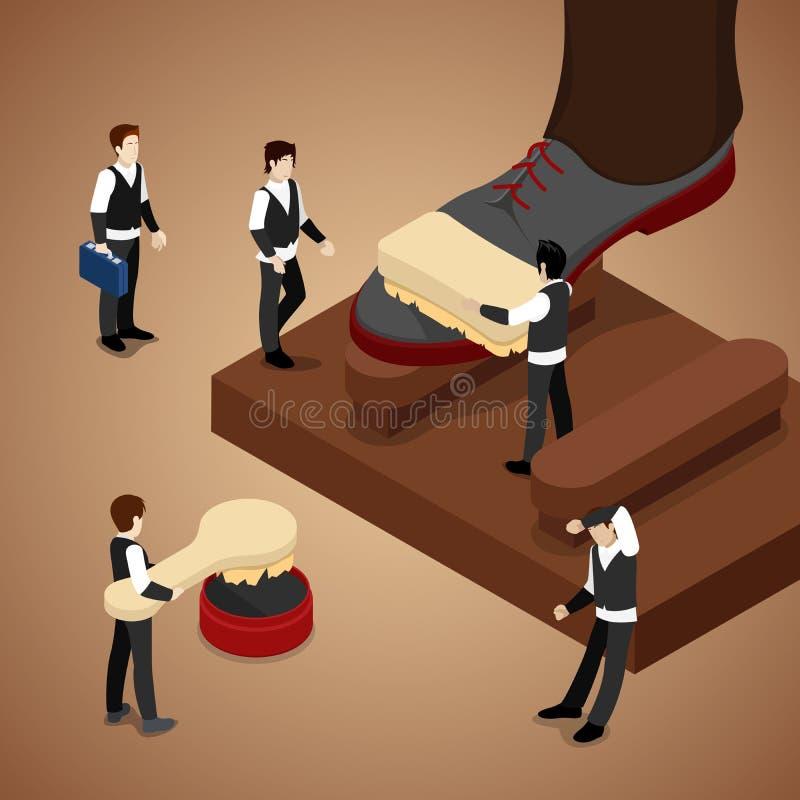 Miniature People Polishing Shoe. Isometric illustration. Miniature People Polishing Shoe. Isometric vector flat 3d illustration royalty free illustration
