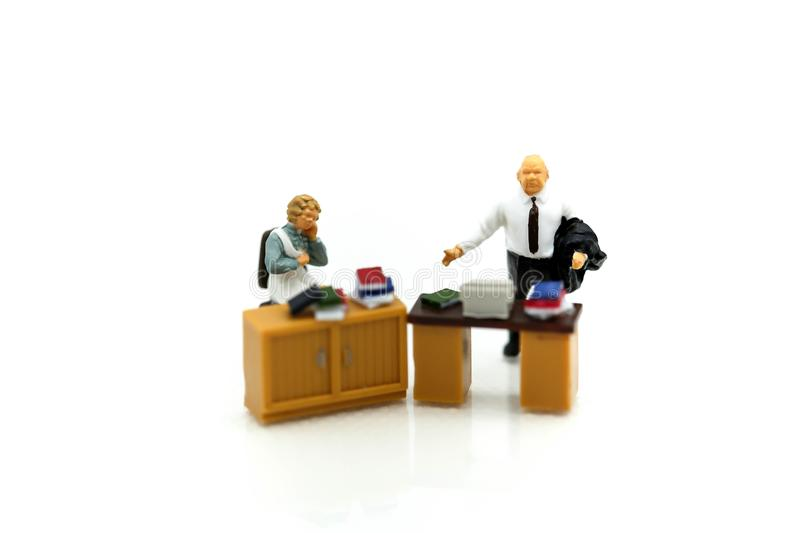 Miniature people : team leader and business owner leading inform royalty free stock image