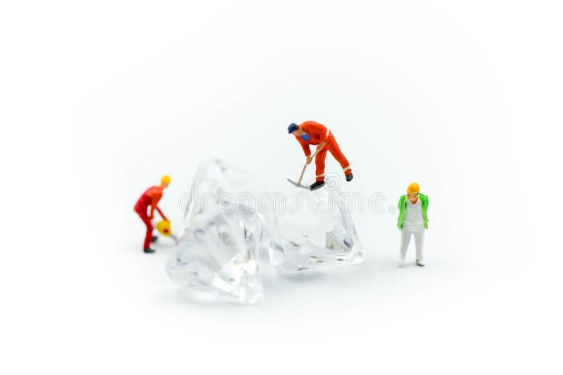Miniature people : working cutting diamond , Diamond cutters co. Ncept stock images