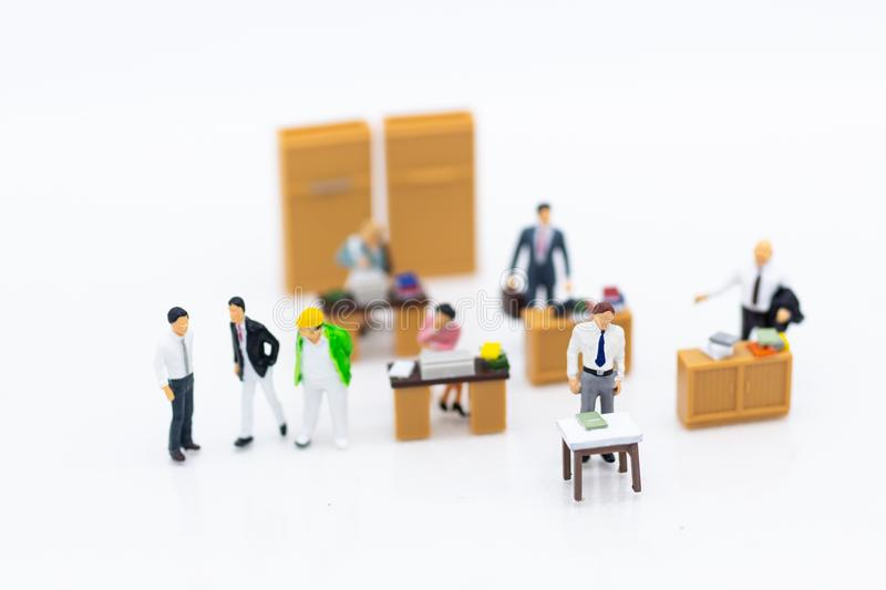 Miniature people : Working in the office, salary man, talent development work. Image use for keeping money for future.  stock images