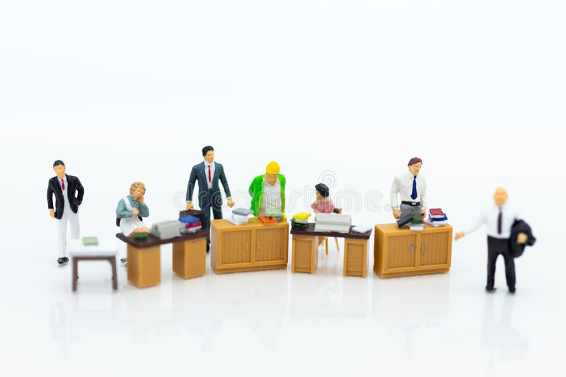 Miniature people : Working in the office, salary man, talent development work. Image use for teamwork ,business coept. Miniature people : Working in the office royalty free stock image