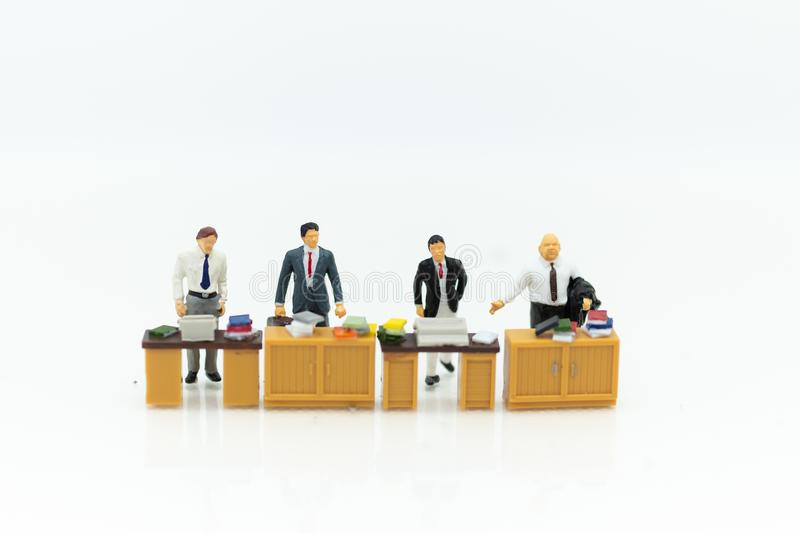 Miniature people : Working in the office, salary man, talent development work. Image use for teamwork ,business concept.  royalty free stock image
