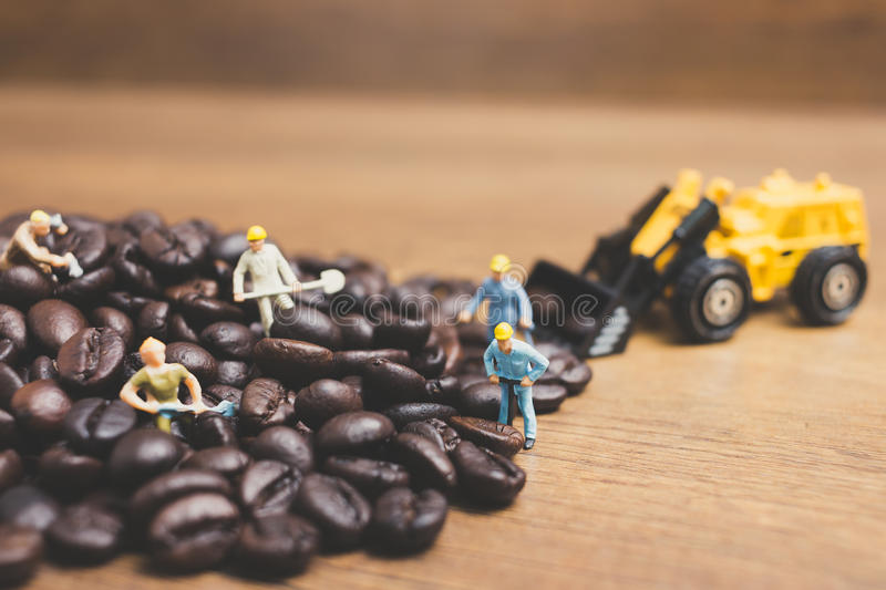Miniature people working on roasted coffee beans. Close up Miniature people working on roasted coffee beans stock photos