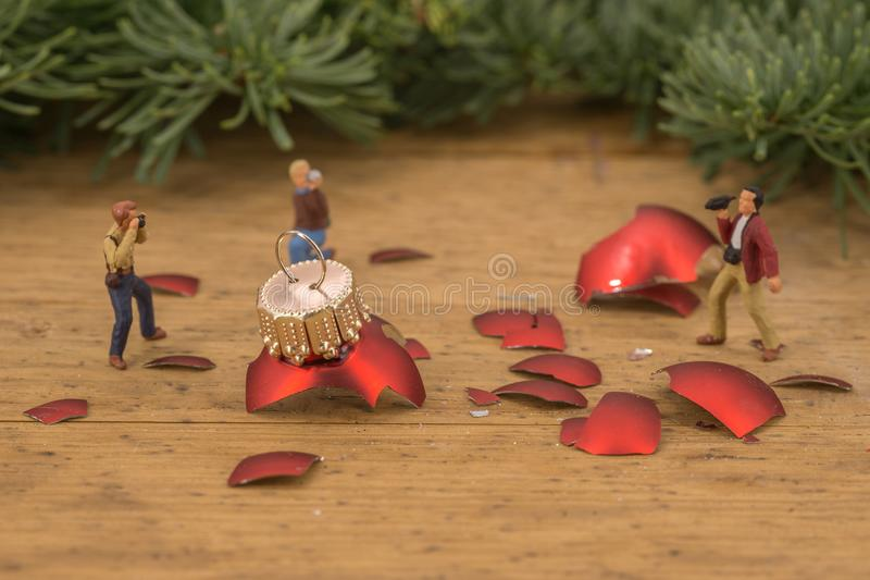 Miniature of photographers and broken christmas balls stock image