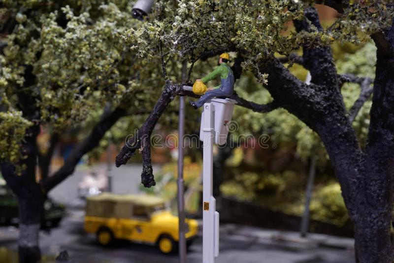 Miniature pruning tree and cut leaves on road. Workers stands on truck crane royalty free stock photos