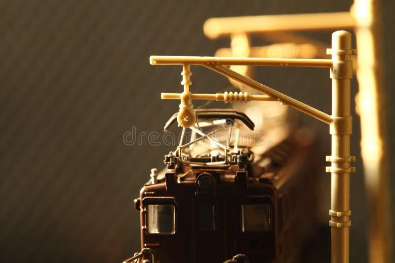 Miniature railroad toy model scene. stock photo