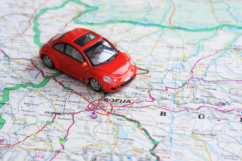 Download Miniature Red Car Over Bulgaria Map Stock Photo - Image: 11376110
