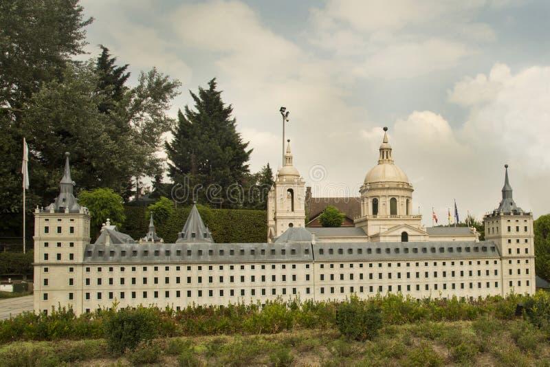 Miniature Royal Monastery of San Lorenzo de El Escorial in Spain at the park Mini Europe. stock image