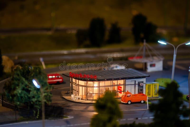 Miniature savings bank branch at big model train show in Tel-Aviv stock photography