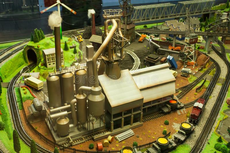 Miniature scene of factory, industrial royalty free stock photos