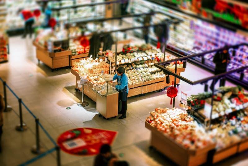 Miniature scene of super market, Shanghai stock image