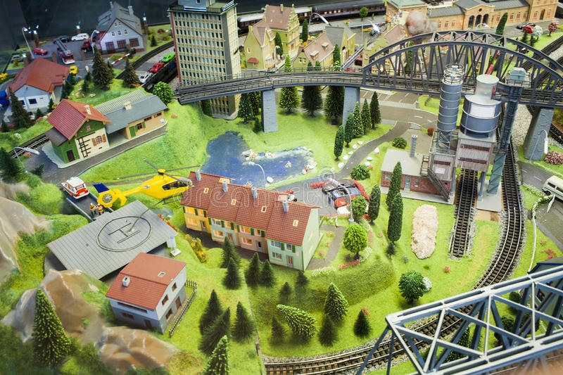 Miniature scene of small city model at Frankfurt Train Station in a window glass royalty free stock image