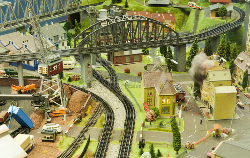 Miniature scene of small city model at Frankfurt Train Station in a window glass stock photography
