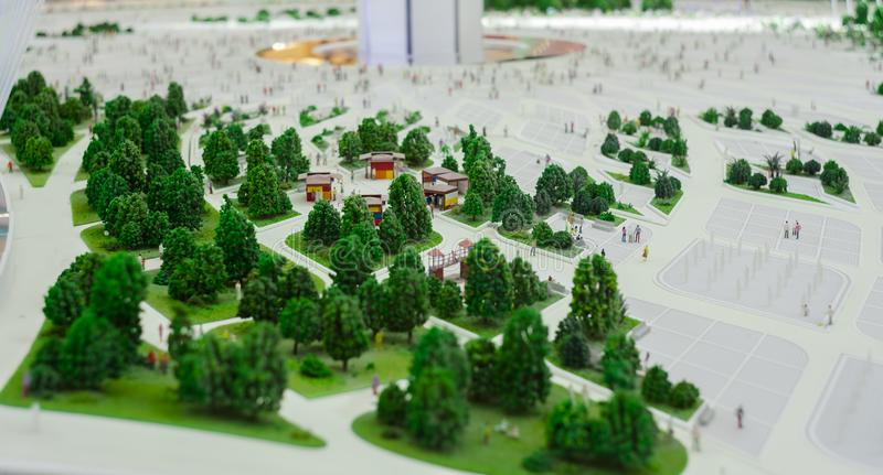 Miniature scene of trees in the city royalty free stock photos
