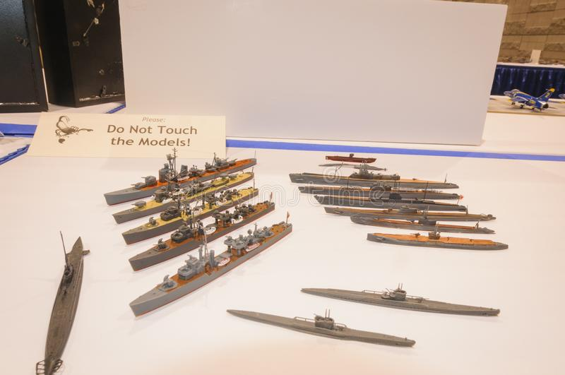 Display of nautical vessel models at the Modeling Convention in Phoenix, Arizona. Miniature ship models are displayed at the display table of the Internation royalty free stock photography