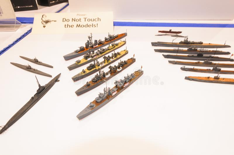 Display of nautical vessel models at the Modeling Convention in Phoenix, Arizona. Miniature ship models are displayed at the display table of the Internation royalty free stock photos
