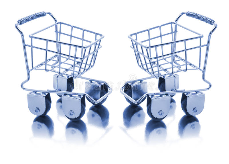 Miniature Shopping Trolleys royalty free stock photography
