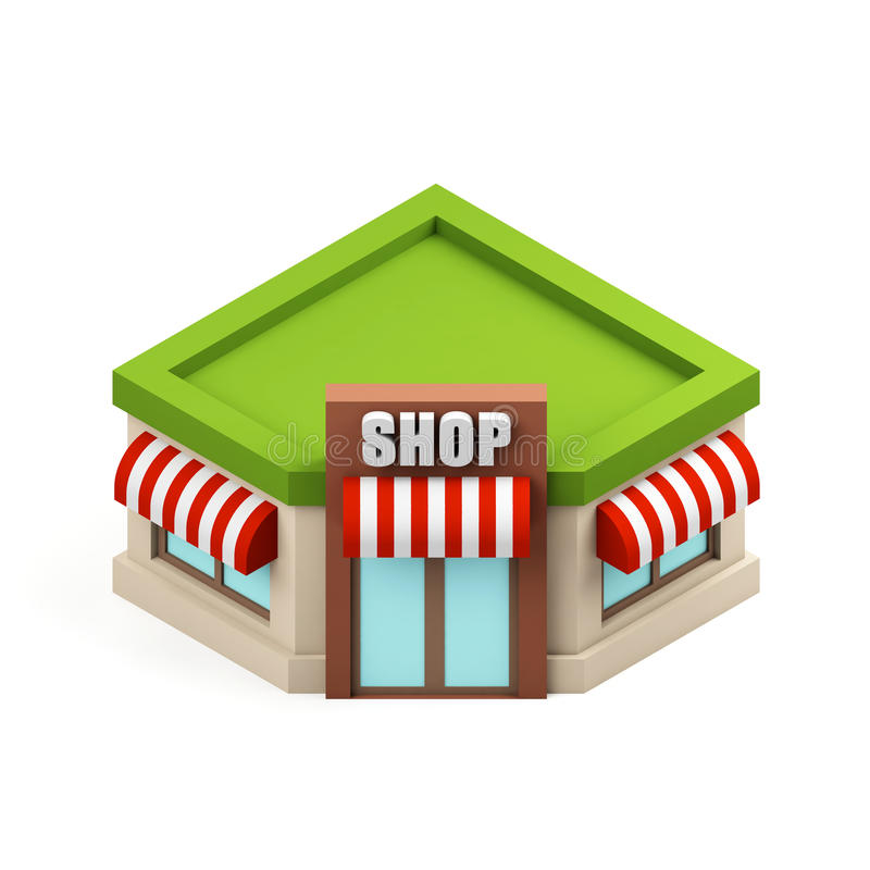 Miniature store illustration. Shopping building icon. Cartoon shop isolated on white background. 3d rendering image. stock illustration