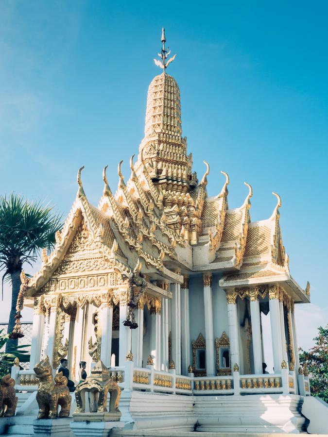 Miniature temple in Bangkok. Beautiful view of a miniature temple in Bangkok, Thailand stock photo