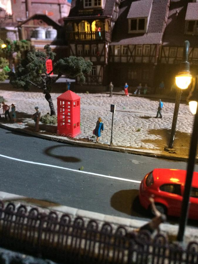 Closed up image of adorable miniature toys town. royalty free stock images