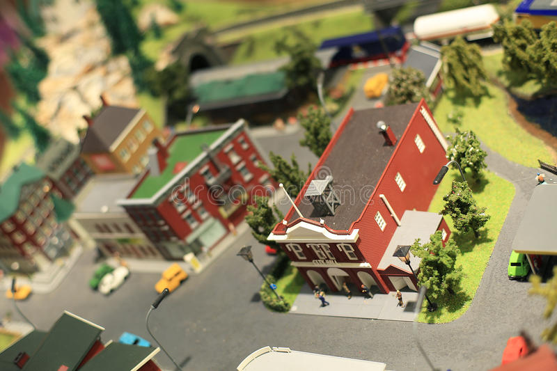 Miniature town. With streets, roads, cars, people and houses stock photos