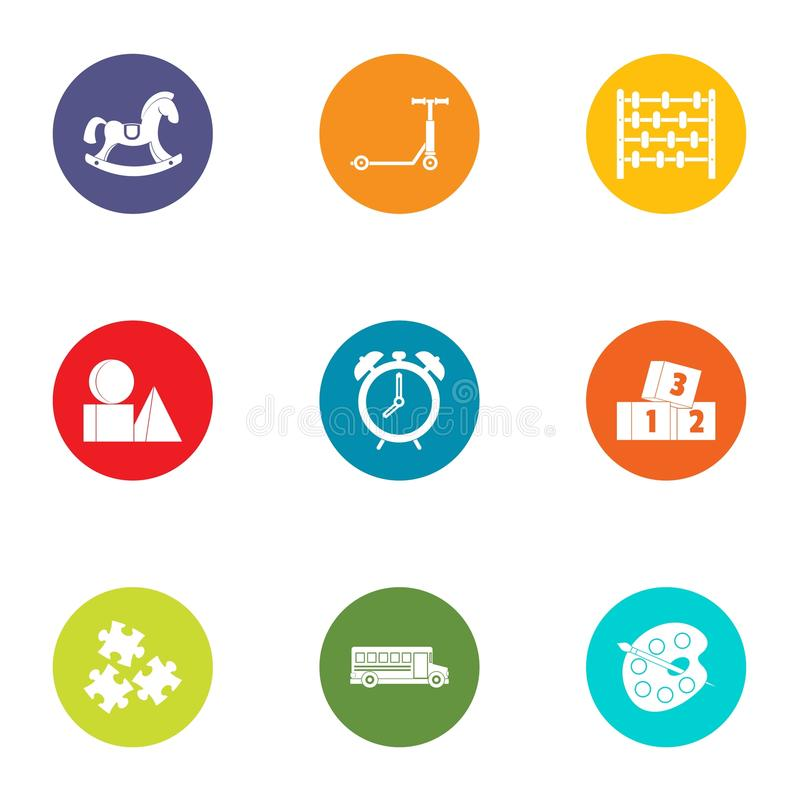 Miniature toy icons set, flat style. Miniature toy icons set. Flat set of 9 miniature toy vector icons for web isolated on white background stock illustration