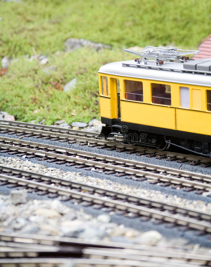 Miniature toy model of modern train royalty free stock photos